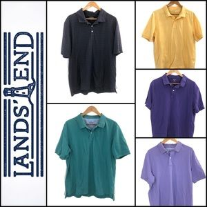 👕 5 Lands' End Men's Cotton Polo Shirts Sz. Large
